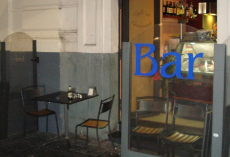 Cafe table in Catania where the word 'Wodara' hit me