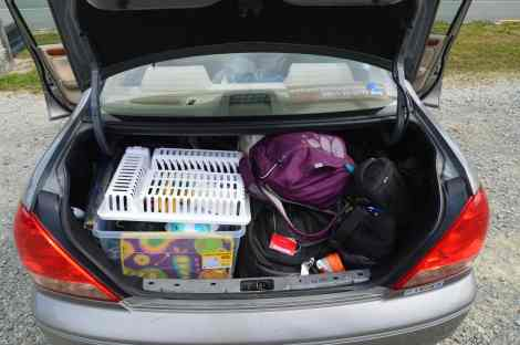 Our car full of our camping supplies. The backseat was just as full!