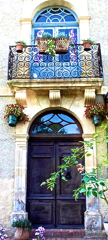 Our new front door. Our new French shutters looking onto the Pyrenees