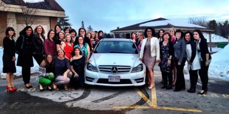 Jen's friend receiving her new Mercedez Benz for her work with Arbonne