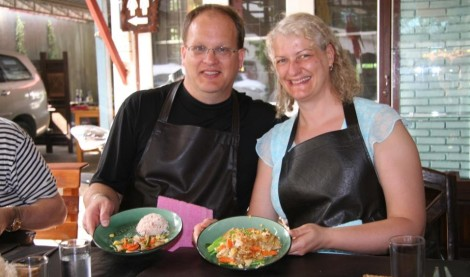Us enjoying a Thai Cooking Course