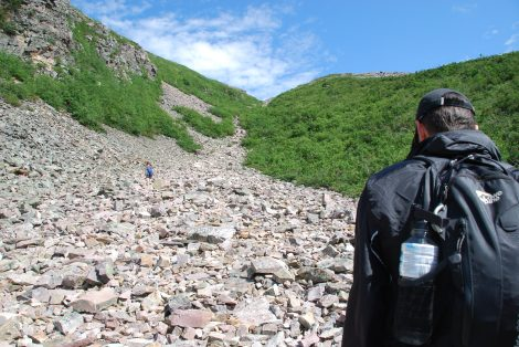 Approaching the river of scree