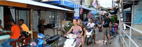 Getting to and fro on the island is mostly by motorbike