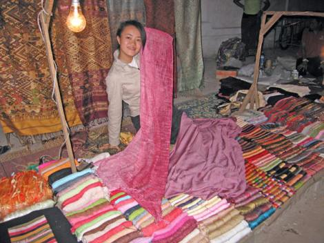 Purchasing handwoven silks in Laos