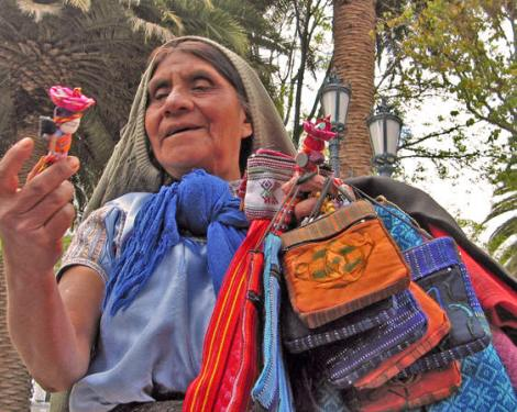 Indigenous woman offering us her wares, Merida, Mexico