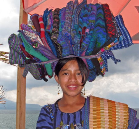 Thirteen year old Maya selling textiles at Lake Atitlan, Guatemala