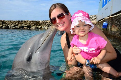 My daughter and I swimming with dolphins in Curaco