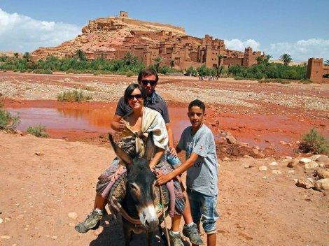 Riding on a donkey!