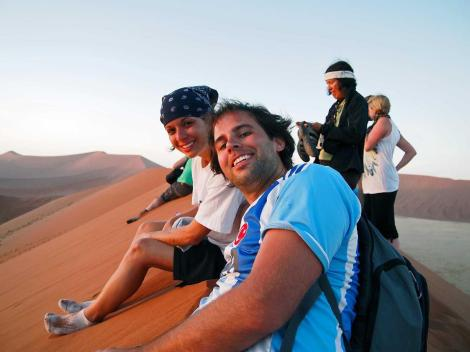 Atop highest dunes in the world in Namibia