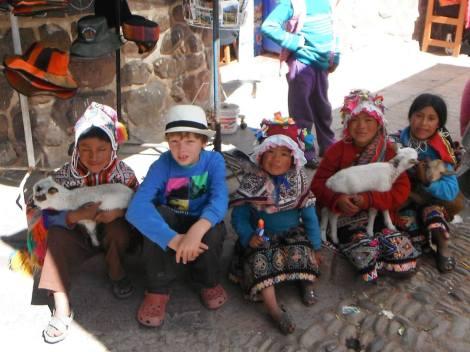 Explorason meeting the local children