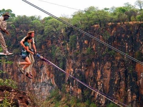 Gorge jump at Victoria Falls, Zimbabwe