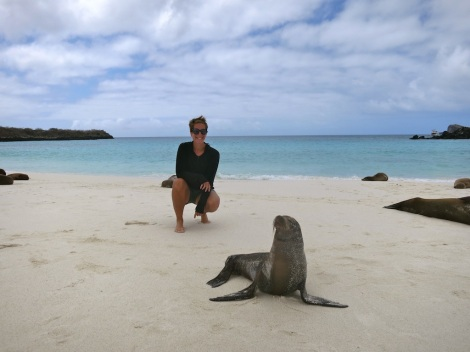 Meeting a sea lion in the Galapagos