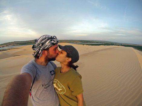 Newlywed kiss in Vietnam